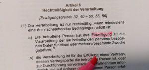 artikel 6 DSGVO 1a Einwilligung